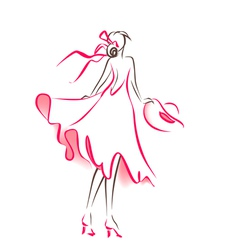 Scribble silhouette of woman vector image