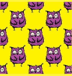 seamless doodle crazy owl pattern on yellow vector image