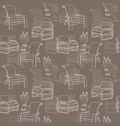 Seamless pattern with lamp and chair o vector