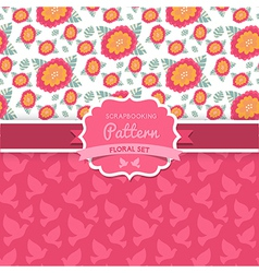 Seamless patterns Dove Shabby chic Floral patterns vector