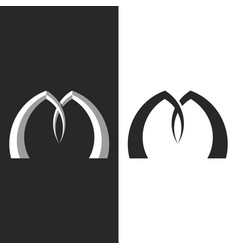 set letter m logo monogram creative emblem vector image