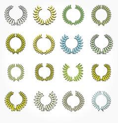 set of crown laurel wreaths vector image vector image