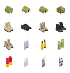 Set of military isometric icons vector