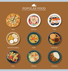 set of popular food vector image