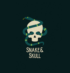 snake and skull abstract sign symbol or vector image