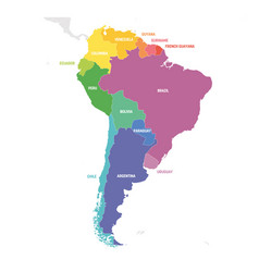 South america region colorful map of countries in vector