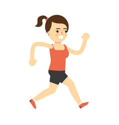 sporty smiling girl in sportswear running vector image