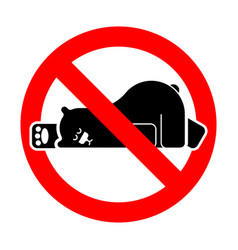 stop sleeping bear ban grizzly beast is sleeping vector image