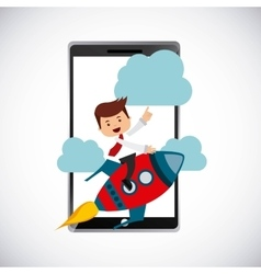 Successful businessman with smartphone icon vector