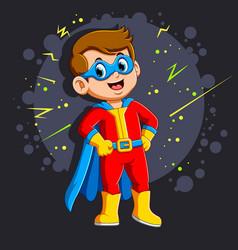 Superhero boy with smile vector