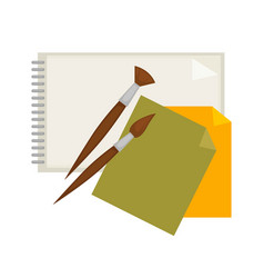 supplies for painting and paper isolated cartoon vector image