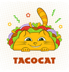 Tacocat happy character mexican fastfood taco vector