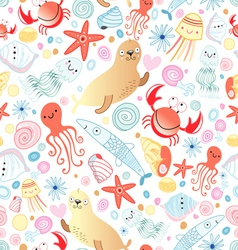 Texture of sea animals vector