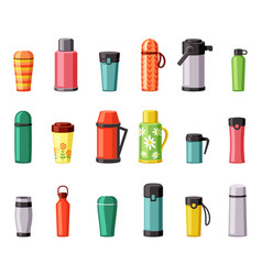 Thermo mugs and thermoses set plastic stainless vector