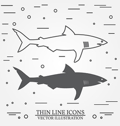 Thin line icon and silhouette shark For web design vector