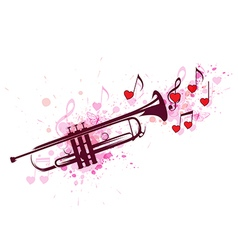 Trumpet notes and red hearts vector