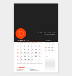 wall calendar planner template for 2019 year 2 vector image