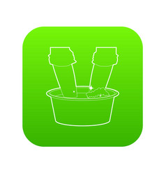 washing in the basin icon green vector image