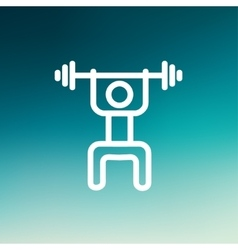 Weightlifter man with barbell thin line icon vector