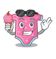 with ice cream cartoon baby clothes on hanger rack vector image