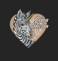 Zebra unicorn love cartoon beautiful animal vector