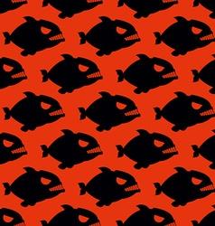 Aggressive seamless pattern from piranha fish vector