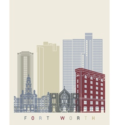 Fort Worth skyline poster vector image vector image