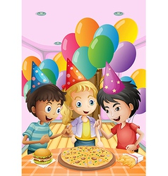 Kids celebrating a birthday with a pizza burger vector image vector image