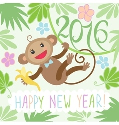 New year card with monkey vector image vector image