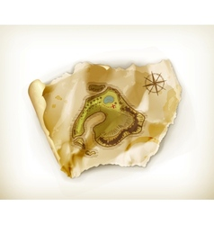 Old map treasure island vector image