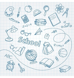 School doodle on notebook page background vector image