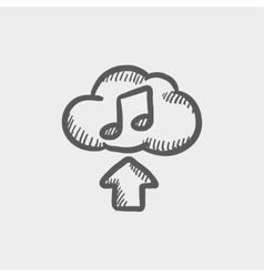 Uploading music sketch icon vector image vector image