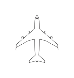Airplanes top flat black linear icon on white vector image