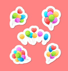 balloons stickers set vector image