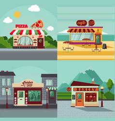 colorful building facades square concept vector image vector image
