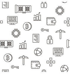 cryptocurrency bitcoin mining seamless pattern vector image vector image