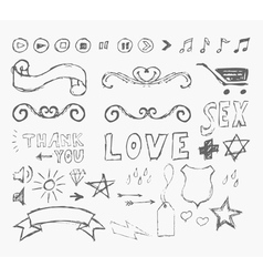 elements of infographics in the style of sketch vector image vector image