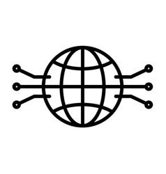 electronic circuit globe line icon vector image