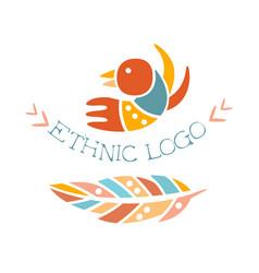 ethnic logo boho style element hipster fashion vector image vector image