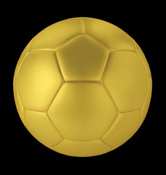 gold soccer ball on black background golden vector image
