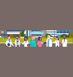 group of medical doctors standing in front of vector image