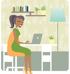 Lady working from home vector image
