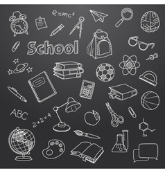 School doodle on a blackboard background vector image vector image