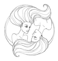Two beautiful young women vector image