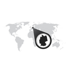 World map with zoom on germany map in loupe in vector