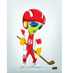 Cartoon Alien Ice Hockey vector image