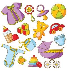 doodle baby icon set vector image vector image
