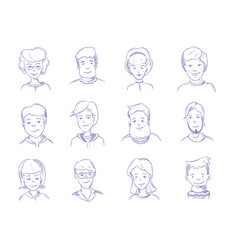 doodle human heads hand drawn adult portraits vector image