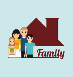 Family house domestic poster vector