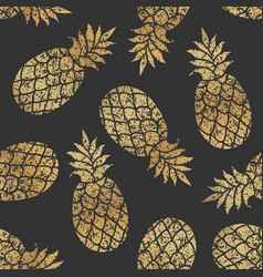 golden pineapples seamless pattern vector image